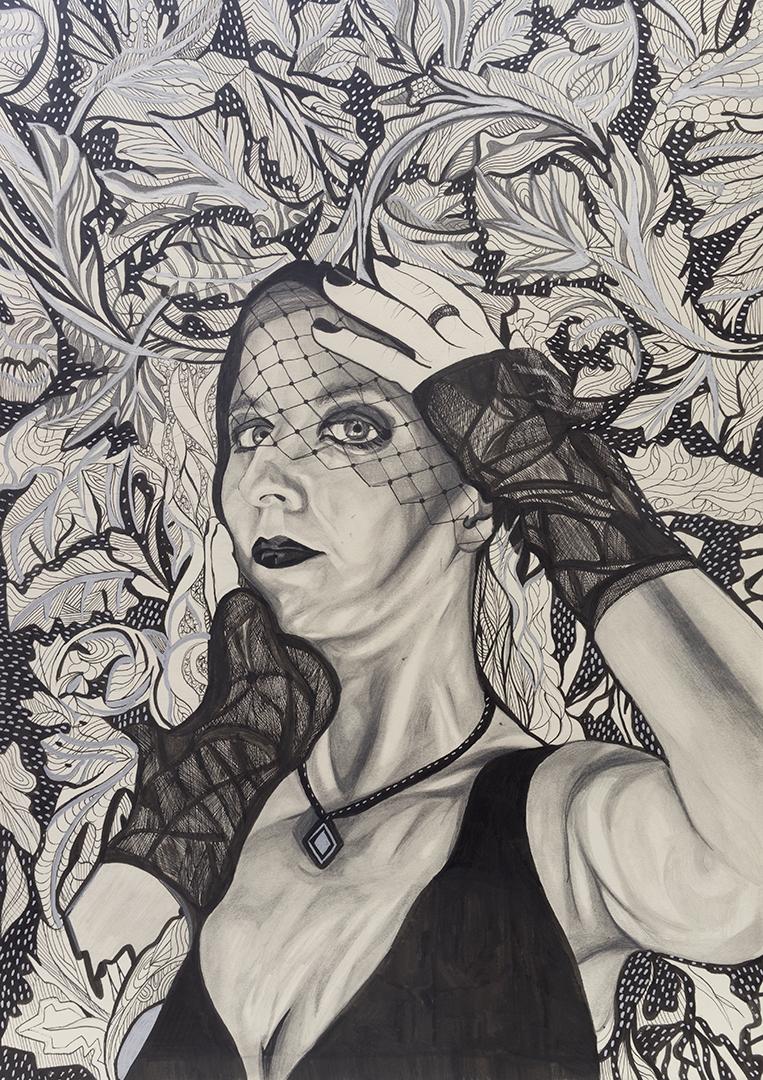 Mixed-media monochrome portrait