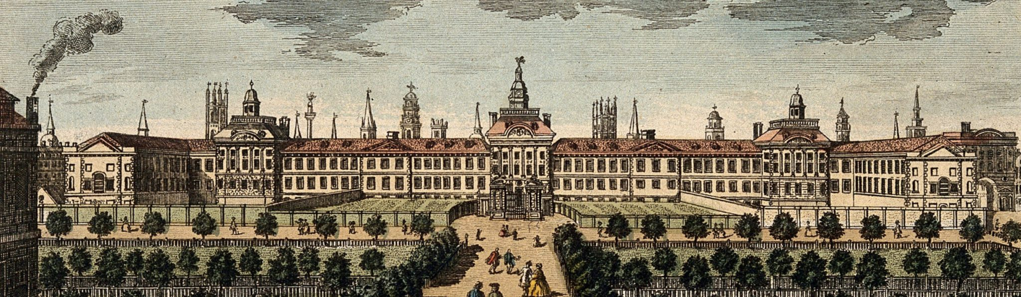 Coloured engraving of Bethlem Hospital