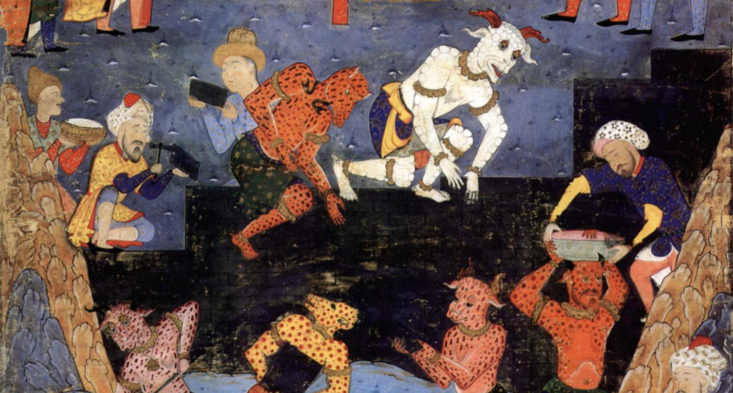 16th-century Persian miniature depicting Dhul-Qarnayn building a wall with the help of some Jinn.
